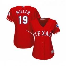 Womens Texas Rangers 19 Shelby Miller Replica Red Alternate Cool Base Baseball Jersey