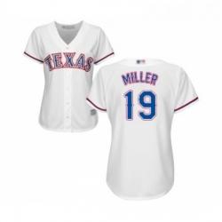 Womens Texas Rangers 19 Shelby Miller Replica White Home Cool Base Baseball Jersey
