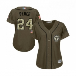 Womens Texas Rangers 24 Hunter Pence Authentic Green Salute to Service Baseball Jersey