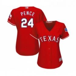 Womens Texas Rangers 24 Hunter Pence Replica Red Alternate Cool Base Baseball Jersey