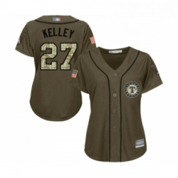 Womens Texas Rangers 27 Shawn Kelley Authentic Green Salute to Service Baseball Jersey