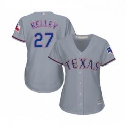 Womens Texas Rangers 27 Shawn Kelley Replica Grey Road Cool Base Baseball Jersey