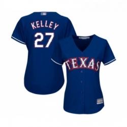 Womens Texas Rangers 27 Shawn Kelley Replica Royal Blue Alternate 2 Cool Base Baseball Jersey