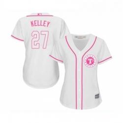 Womens Texas Rangers 27 Shawn Kelley Replica White Fashion Cool Base Baseball Jersey