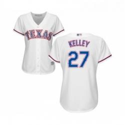 Womens Texas Rangers 27 Shawn Kelley Replica White Home Cool Base Baseball Jersey