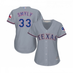 Womens Texas Rangers 33 Drew Smyly Replica Grey Road Cool Base Baseball Jersey