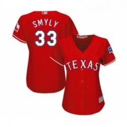 Womens Texas Rangers 33 Drew Smyly Replica Red Alternate Cool Base Baseball Jersey