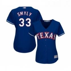 Womens Texas Rangers 33 Drew Smyly Replica Royal Blue Alternate 2 Cool Base Baseball Jersey