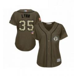 Womens Texas Rangers 35 Lance Lynn Authentic Green Salute to Service Baseball Jersey