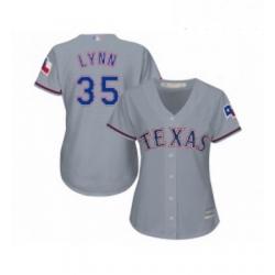 Womens Texas Rangers 35 Lance Lynn Replica Grey Road Cool Base Baseball Jersey