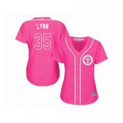 Womens Texas Rangers 35 Lance Lynn Replica Pink Fashion Cool Base Baseball Jersey