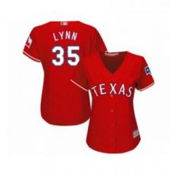 Womens Texas Rangers 35 Lance Lynn Replica Red Alternate Cool Base Baseball Jersey