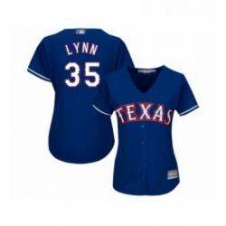 Womens Texas Rangers 35 Lance Lynn Replica Royal Blue Alternate 2 Cool Base Baseball Jersey