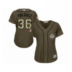 Womens Texas Rangers 36 Edinson Volquez Authentic Green Salute to Service Baseball Jersey
