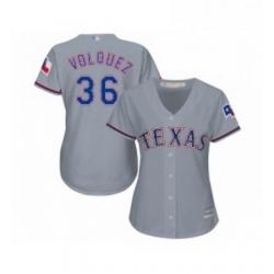 Womens Texas Rangers 36 Edinson Volquez Replica Grey Road Cool Base Baseball Jersey