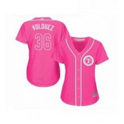 Womens Texas Rangers 36 Edinson Volquez Replica Pink Fashion Cool Base Baseball Jersey
