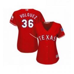 Womens Texas Rangers 36 Edinson Volquez Replica Red Alternate Cool Base Baseball Jersey
