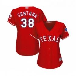 Womens Texas Rangers 38 Danny Santana Replica Red Alternate Cool Base Baseball Jersey