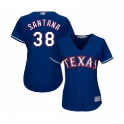 Womens Texas Rangers 38 Danny Santana Replica Royal Blue Alternate 2 Cool Base Baseball Jersey