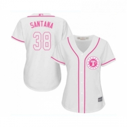 Womens Texas Rangers 38 Danny Santana Replica White Fashion Cool Base Baseball Jersey