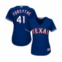 Womens Texas Rangers 41 Logan Forsythe Authentic Royal Blue Alternate 2 Cool Base Baseball Jersey