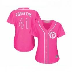 Womens Texas Rangers 41 Logan Forsythe Replica Pink Fashion Cool Base Baseball Jersey