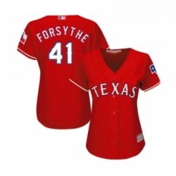 Womens Texas Rangers 41 Logan Forsythe Replica Red Alternate Cool Base Baseball Jersey