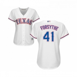 Womens Texas Rangers 41 Logan Forsythe Replica White Home Cool Base Baseball Jersey