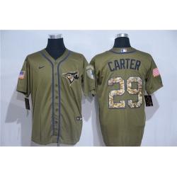Blue Jays 29 Joe Carter Olive 2020 Nike Cool Base Jersey