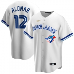 Men Toronto Blue Jays 12 Roberto Alomar Nike Home Cooperstown Collection Player MLB Jersey White