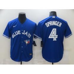 Men Toronto Blue Jays 4 George Springer Blue Stitched MLB Cool Base Nike Jersey