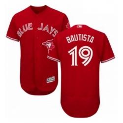 Mens Majestic Toronto Blue Jays 19 Jose Bautista Scarlet Flexbase Authentic Collection Alternate MLB Jersey