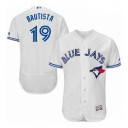 Mens Majestic Toronto Blue Jays 19 Jose Bautista White Home Flex Base Authentic Collection MLB Jersey
