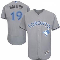 Mens Majestic Toronto Blue Jays 19 Paul Molitor Authentic Gray 2016 Fathers Day Fashion Flex Base MLB Jersey