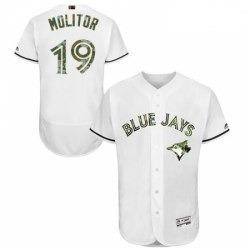 Mens Majestic Toronto Blue Jays 19 Paul Molitor Authentic White 2016 Memorial Day Fashion Flex Base Jersey