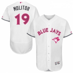 Mens Majestic Toronto Blue Jays 19 Paul Molitor Authentic White 2016 Mothers Day Fashion Flex Base MLB Jersey