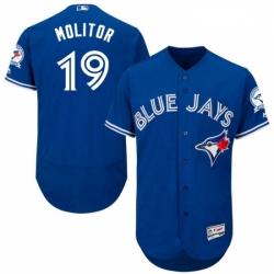 Mens Majestic Toronto Blue Jays 19 Paul Molitor Blue Alternate Flex Base Authentic Collection MLB Jersey