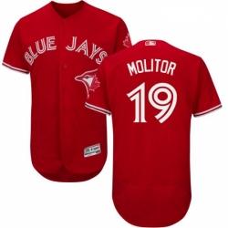Mens Majestic Toronto Blue Jays 19 Paul Molitor Scarlet Flexbase Authentic Collection Alternate MLB Jersey