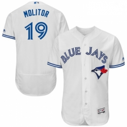 Mens Majestic Toronto Blue Jays 19 Paul Molitor White Home Flex Base Authentic Collection MLB Jersey