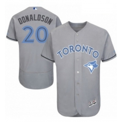 Mens Majestic Toronto Blue Jays 20 Josh Donaldson Authentic Gray 2016 Fathers Day Fashion Flex Base Jersey