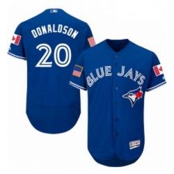 Mens Majestic Toronto Blue Jays 20 Josh Donaldson Authentic Royal Blue Fashion Stars Stripes Flex Base Jersey