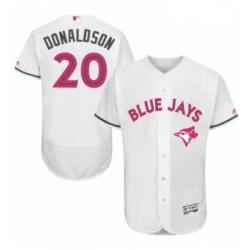 Mens Majestic Toronto Blue Jays 20 Josh Donaldson Authentic White 2016 Mothers Day Fashion Flex Base Jersey