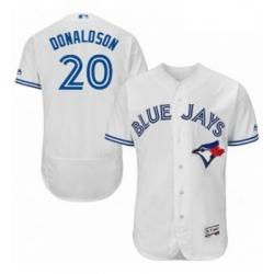 Mens Majestic Toronto Blue Jays 20 Josh Donaldson White Home Flex Base Authentic Collection MLB Jersey