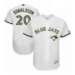 Mens Majestic Toronto Blue Jays 20 Josh Donaldson White Memorial Day Authentic Collection MLB Jersey Flex Base