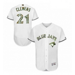 Mens Majestic Toronto Blue Jays 21 Roger Clemens Authentic White 2016 Memorial Day Fashion Flex Base Jersey