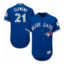 Mens Majestic Toronto Blue Jays 21 Roger Clemens Blue Alternate Flex Base Authentic Collection MLB Jersey