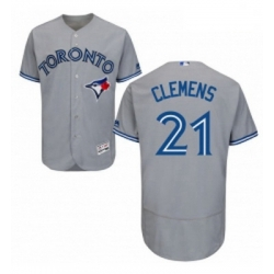 Mens Majestic Toronto Blue Jays 21 Roger Clemens Grey Road Flex Base Authentic Collection MLB Jersey