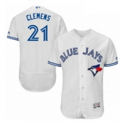 Mens Majestic Toronto Blue Jays 21 Roger Clemens White Home Flex Base Authentic Collection MLB Jersey
