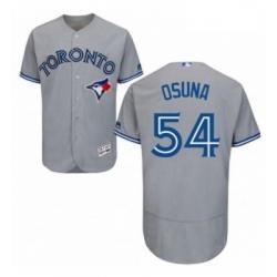 Mens Majestic Toronto Blue Jays 54 Roberto Osuna Grey Road Flex Base Authentic Collection MLB Jersey