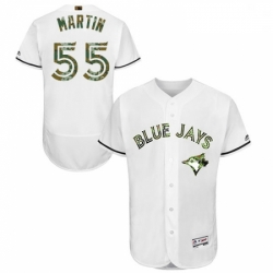 Mens Majestic Toronto Blue Jays 55 Russell Martin Authentic White 2016 Memorial Day Fashion Flex Base Jerseys